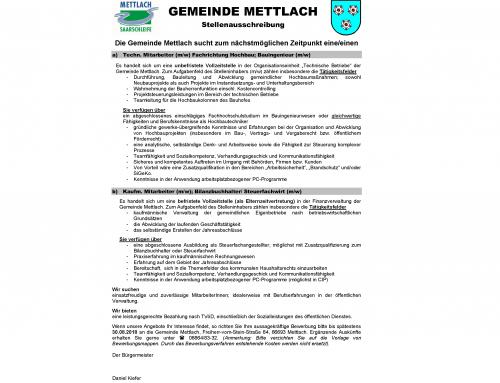 Stellenausschreibungen der Gemeinde Mettlach